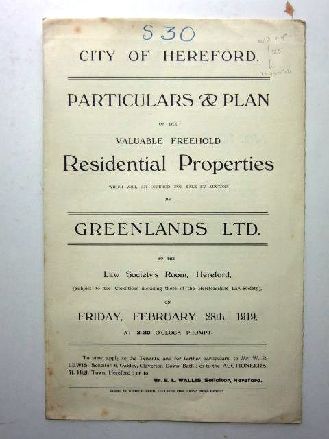 Photo of SALE PARTICULARS FOR PROPERTIES IN THE CITY OF HEREFORD published by Greenlands Ltd. (STOCK CODE: 1206038)  for sale by Stella & Rose's Books
