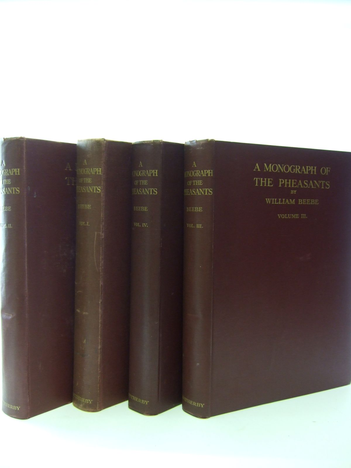 Photo of A MONOGRAPH OF THE PHEASANTS 4 VOLUMES written by Beebe, William illustrated by Thorburn, Archibald<br />Gronvold, Henrik<br />Lodge, G.E. published by Witherby & Co. (STOCK CODE: 1206969)  for sale by Stella & Rose's Books