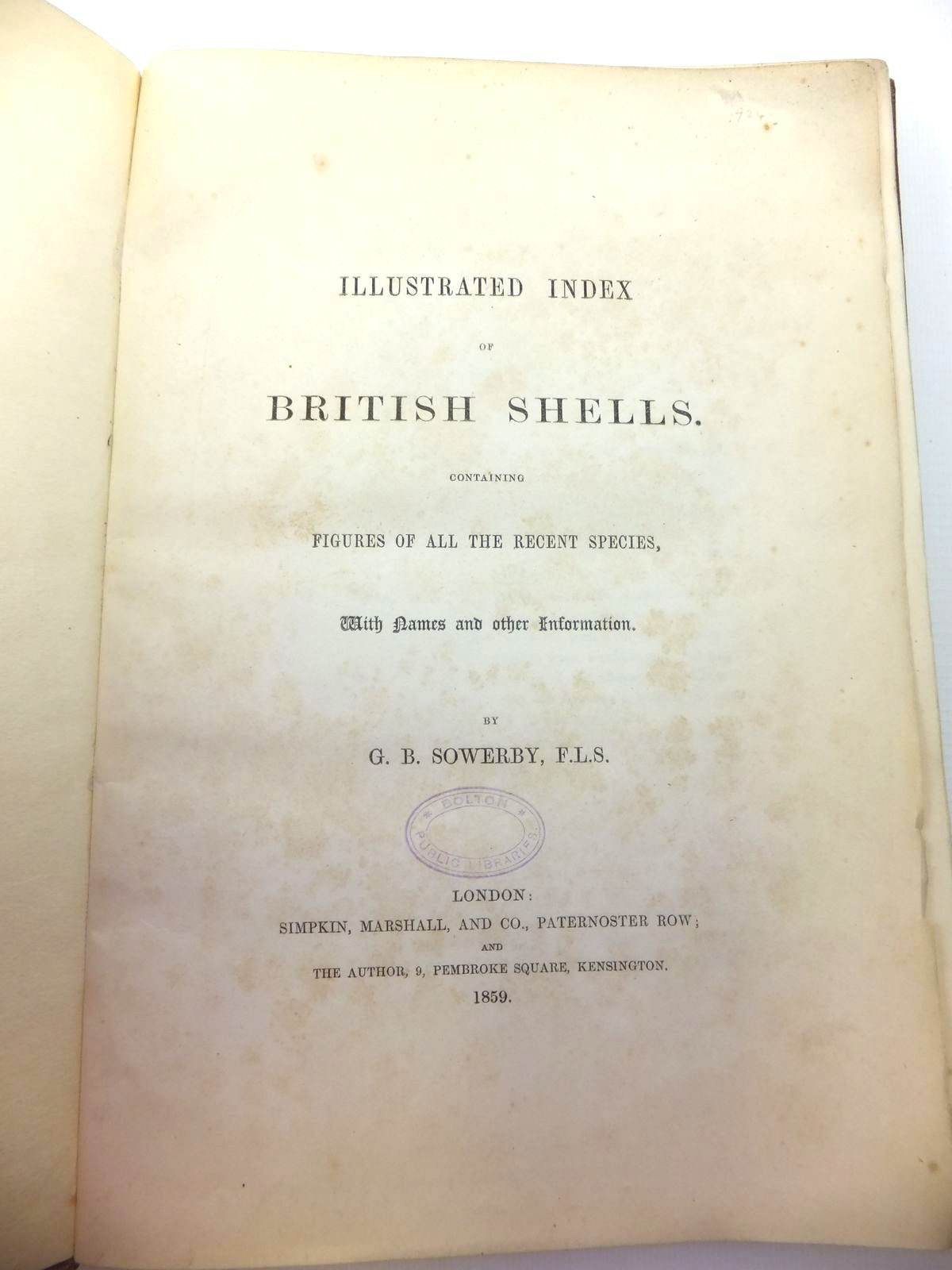 Photo of ILLUSTRATED INDEX OF BRITISH SHELLS written by Sowerby, G.B. illustrated by Sowerby, G.B. published by Simpkin, Marshall & Co. (STOCK CODE: 1208605)  for sale by Stella & Rose's Books