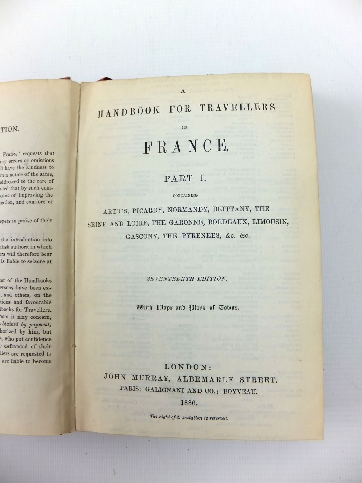 Photo of A HANDBOOK FOR TRAVELLERS IN FRANCE PART 1 published by John Murray (STOCK CODE: 1208694)  for sale by Stella & Rose's Books