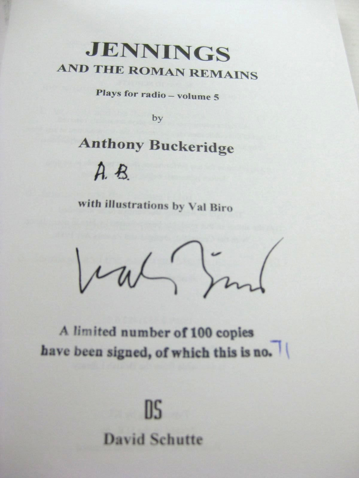 Photo of JENNINGS AND THE ROMAN REMAINS written by Buckeridge, Anthony illustrated by Biro, Val published by David Schutte (STOCK CODE: 1316637)  for sale by Stella & Rose's Books