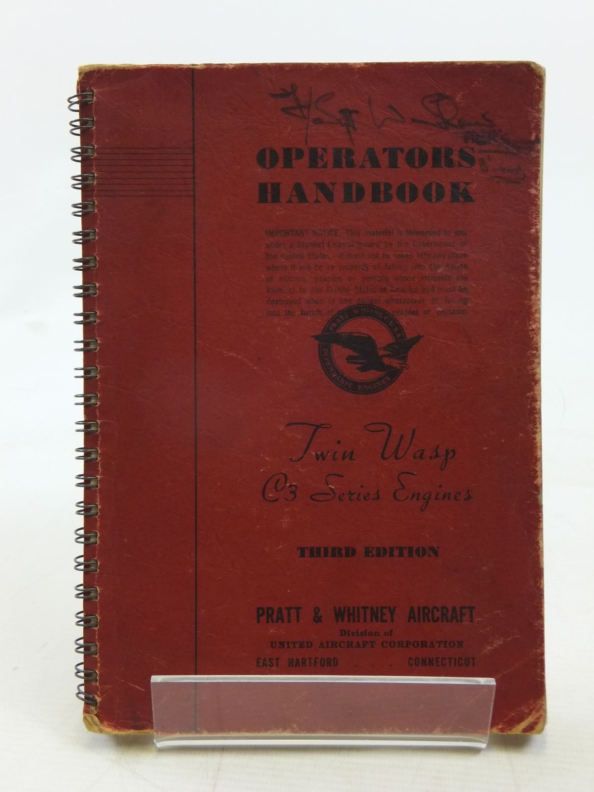 Photo of OPERATORS HANDBOOK TWIN WASP C3 ENGINE published by Pratt & Whitney Co. (STOCK CODE: 1606709)  for sale by Stella & Rose's Books