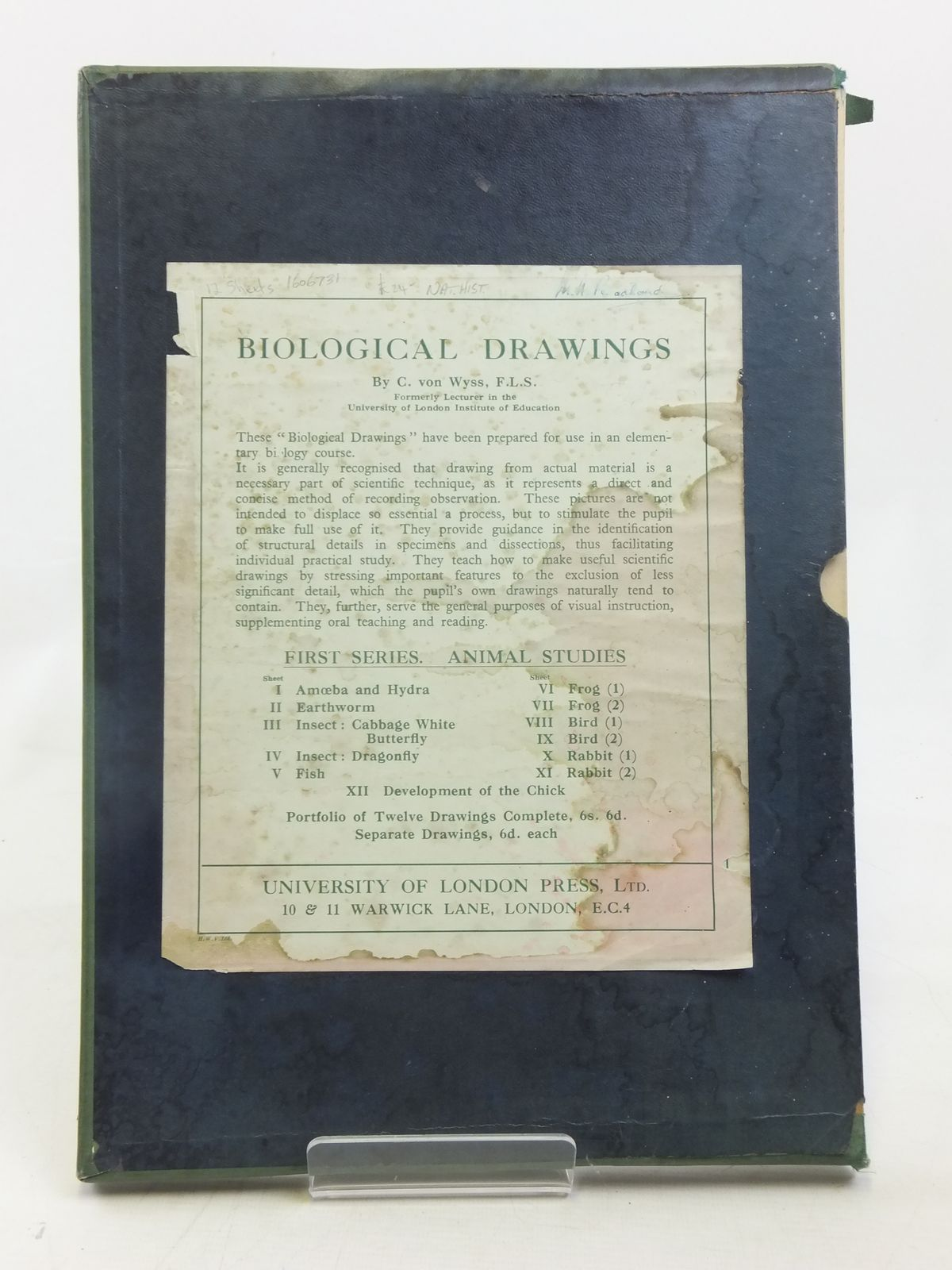 Photo of BIOLOGICAL DRAWINGS written by Von Wyss, C. published by University of London Press Ltd. (STOCK CODE: 1606731)  for sale by Stella & Rose's Books