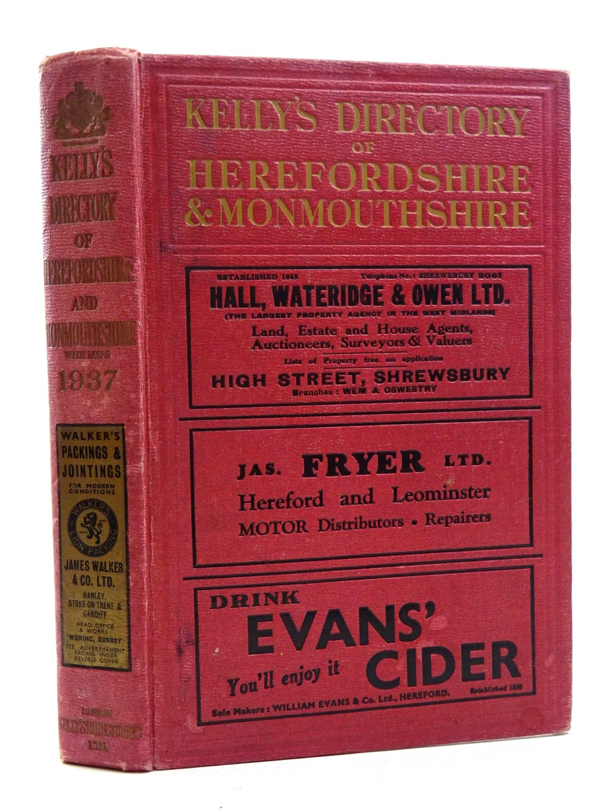 Photo of KELLY'S DIRECTORY OF HEREFORDSHIRE AND MONMOUTHSHIRE 1937 published by Kelly's Directories Ltd. (STOCK CODE: 1610653)  for sale by Stella & Rose's Books