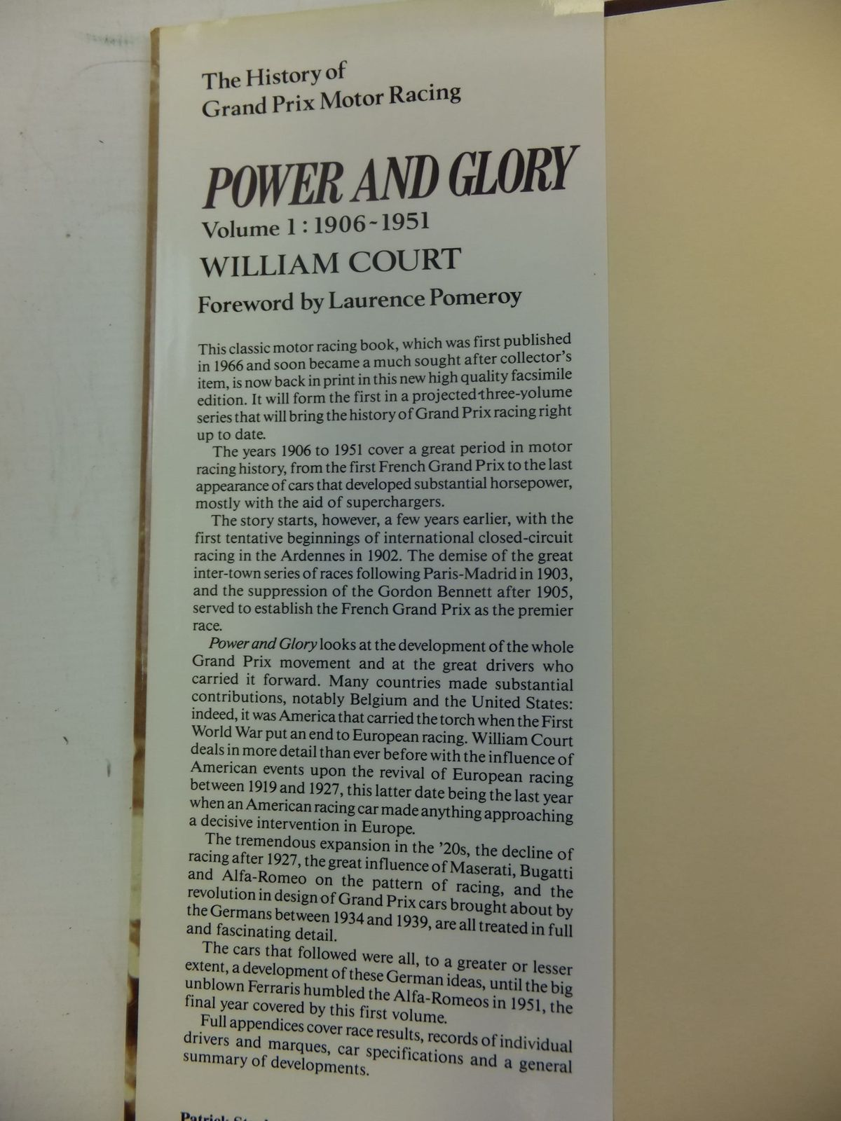 Photo of POWER AND GLORY VOLUME 1 1906-1951 written by Court, William published by Patrick Stephens Limited (STOCK CODE: 1711215)  for sale by Stella & Rose's Books