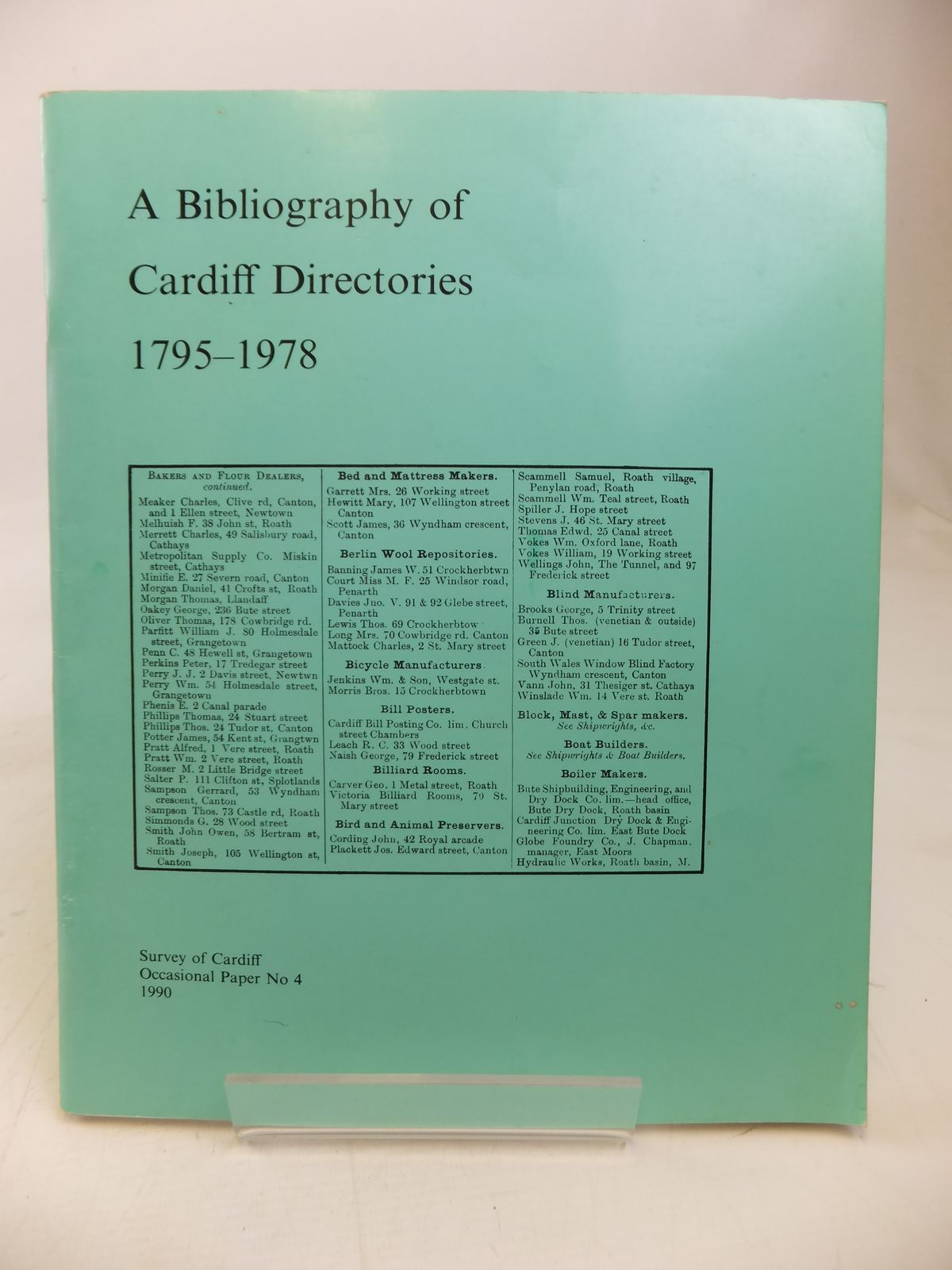 Photo of A BIBLIOGRAPHY OF CARDIFF DIRECTORIES 1795-1978 written by Llewellyn, Howard published by Survey Of Cardiff (STOCK CODE: 1810137)  for sale by Stella & Rose's Books