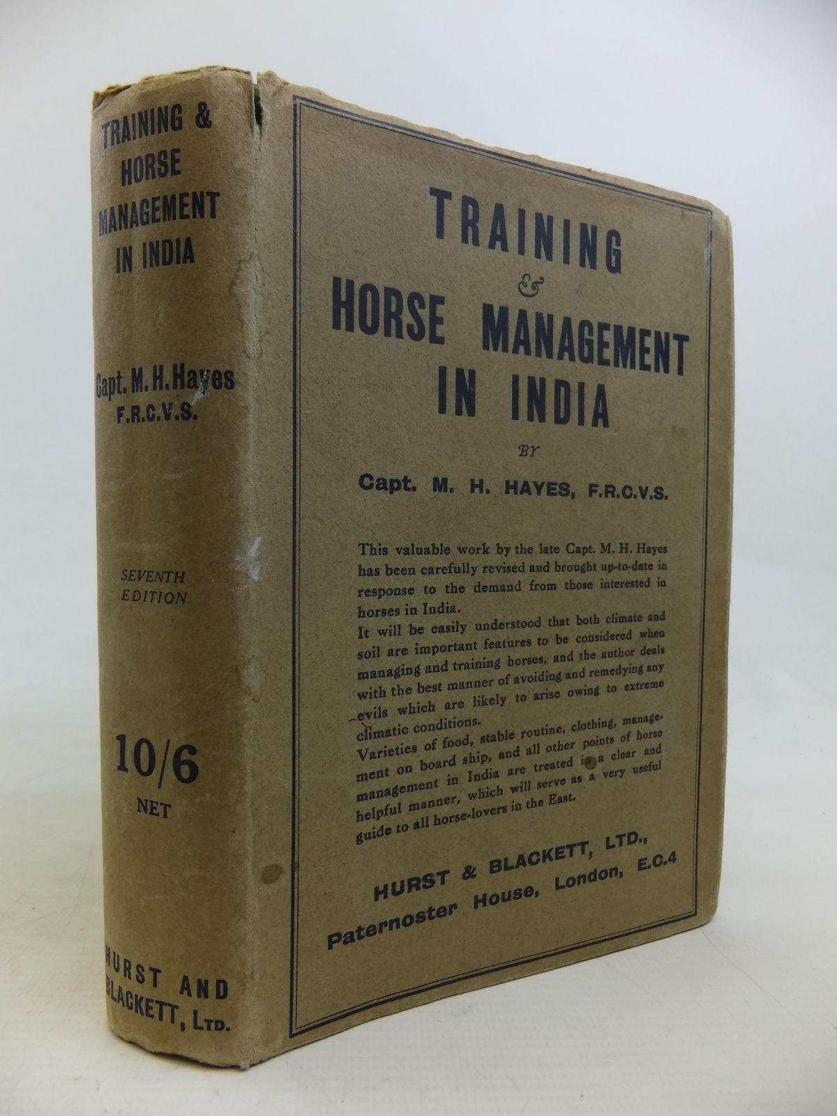 Photo of TRAINING AND HORSE MANAGEMENT IN INDIA WITH HINDUSTANEE VOCABULARY written by Hayes, M. Horace published by Hurst & Blackett Ltd. (STOCK CODE: 1810938)  for sale by Stella & Rose's Books