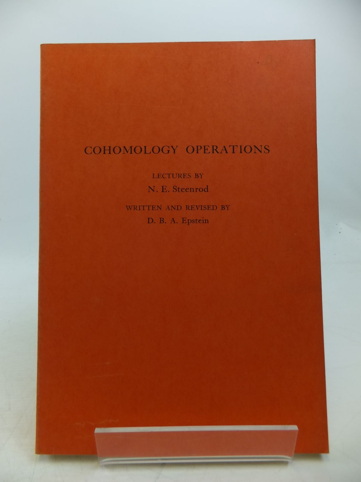 Photo of COHOMOLOGY OPERATIONS written by Steenrod, N.E.<br />Epstein, D.B.A. published by Princeton University Press (STOCK CODE: 1811832)  for sale by Stella & Rose's Books