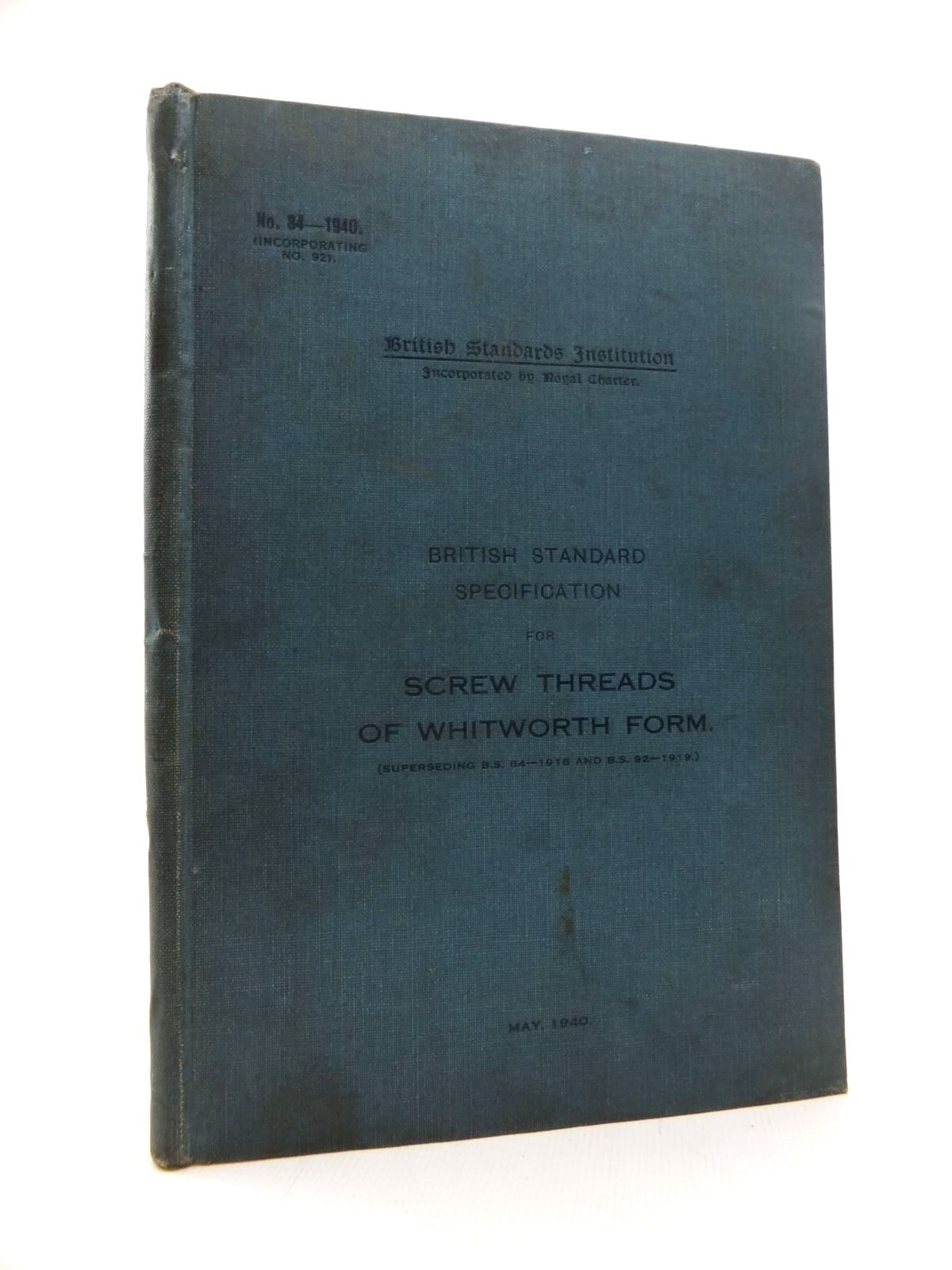 Photo of SCREW THREADS OF WHITWORTH FORM published by British Standards Institution (STOCK CODE: 1814301)  for sale by Stella & Rose's Books