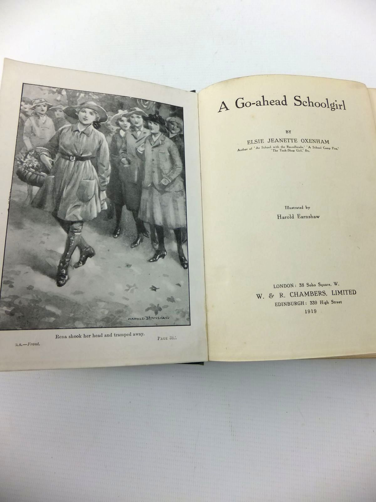 Photo of A GO-AHEAD SCHOOLGIRL written by Oxenham, Elsie J. illustrated by Earnshaw, Harold C. published by W. & R. Chambers Limited (STOCK CODE: 1814714)  for sale by Stella & Rose's Books