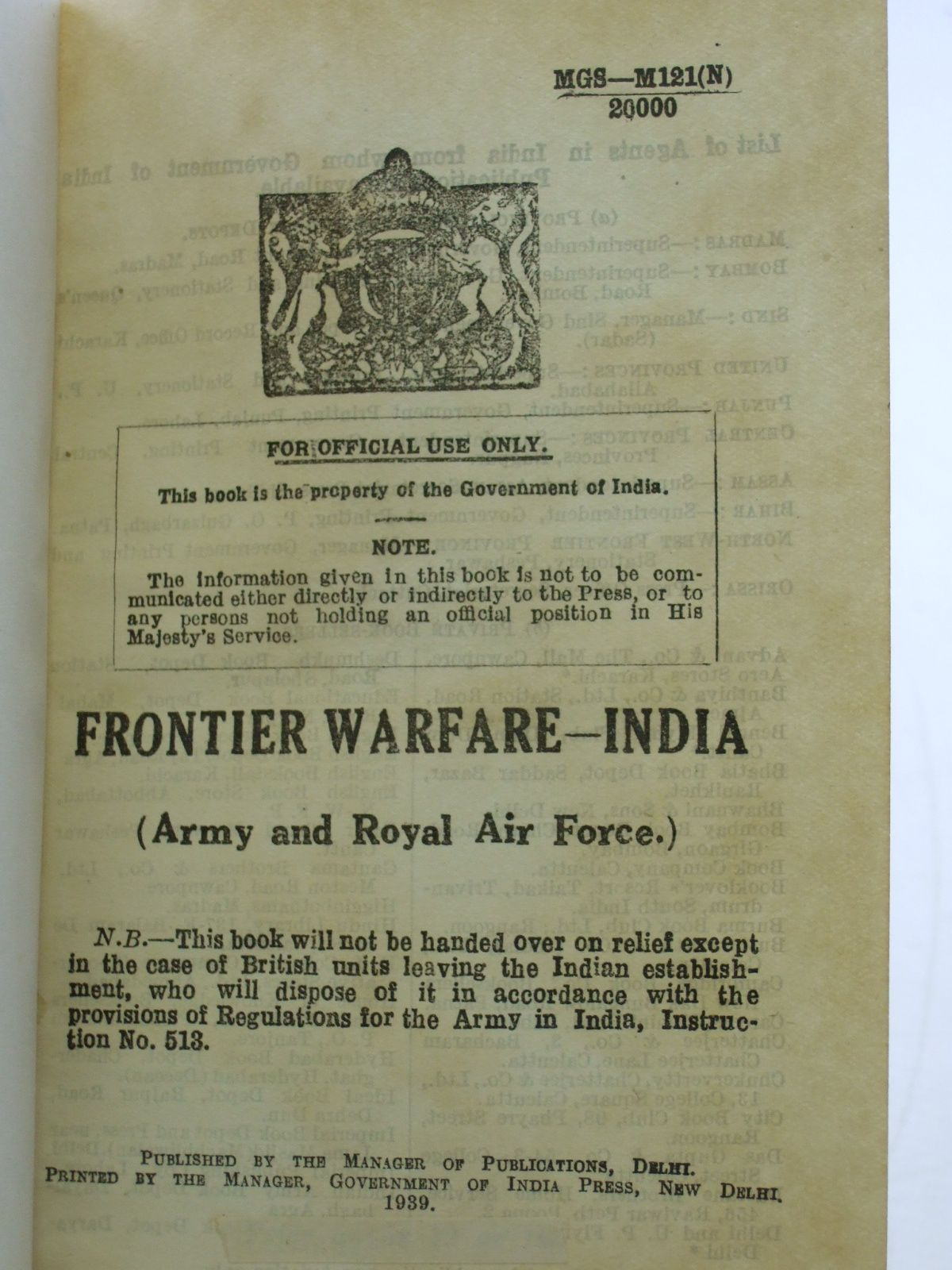 Photo of FRONTIER WARFARE - INDIA (STOCK CODE: 2106932)  for sale by Stella & Rose's Books
