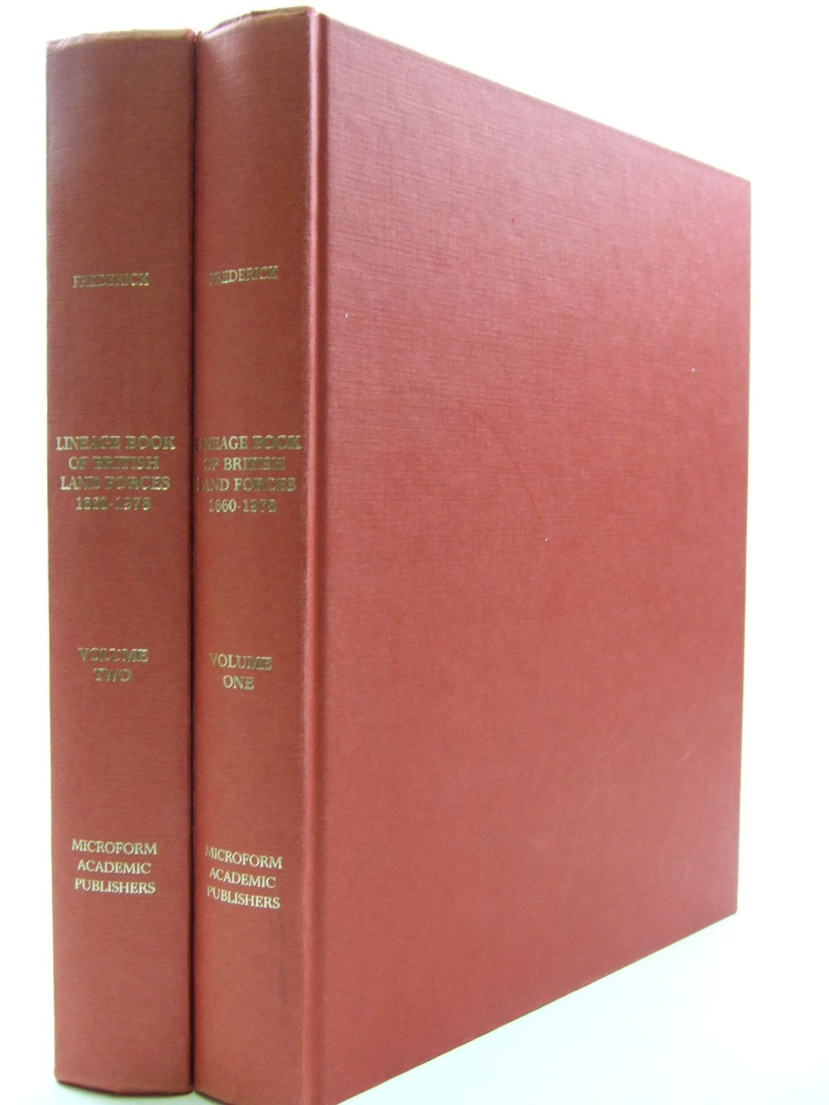 Photo of LINEAGE BOOK OF BRITISH LAND FORCES 1660-1978 (2 VOLUMES) written by Frederick, J.B.M. published by Microform Academic Publishers (STOCK CODE: 2109323)  for sale by Stella & Rose's Books