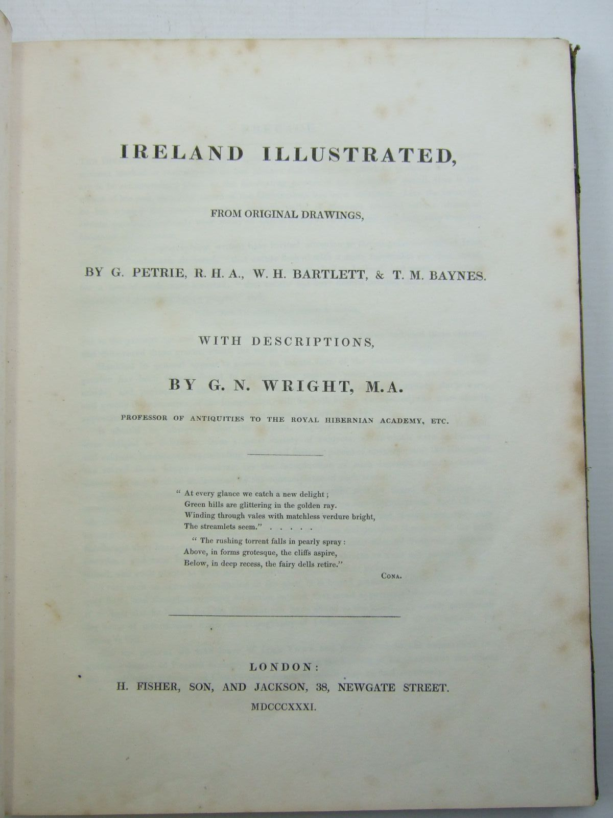 Photo of IRELAND ILLUSTRATED IN A SERIES OF VIEWS written by Wright, G.N. illustrated by Petrie, G.<br />Bartlett, W.H.<br />Baynes, T.M. published by H. Fisher, Son And Jackson (STOCK CODE: 2109692)  for sale by Stella & Rose's Books
