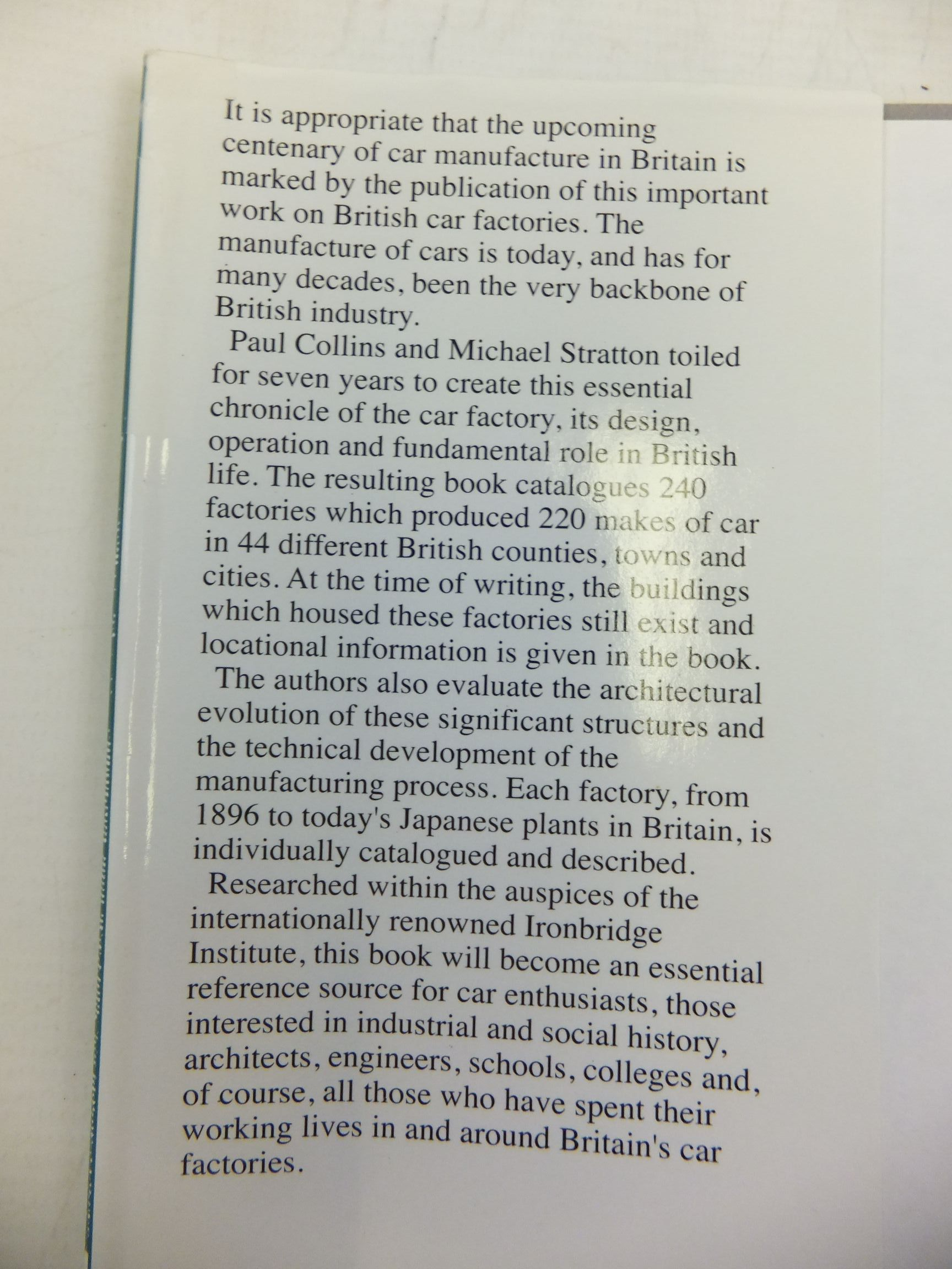 Photo of BRITISH CAR FACTORIES FROM 1896 written by Collins, Paul<br />Stratton, Michael published by Veloce Publishing Plc. (STOCK CODE: 2115318)  for sale by Stella & Rose's Books
