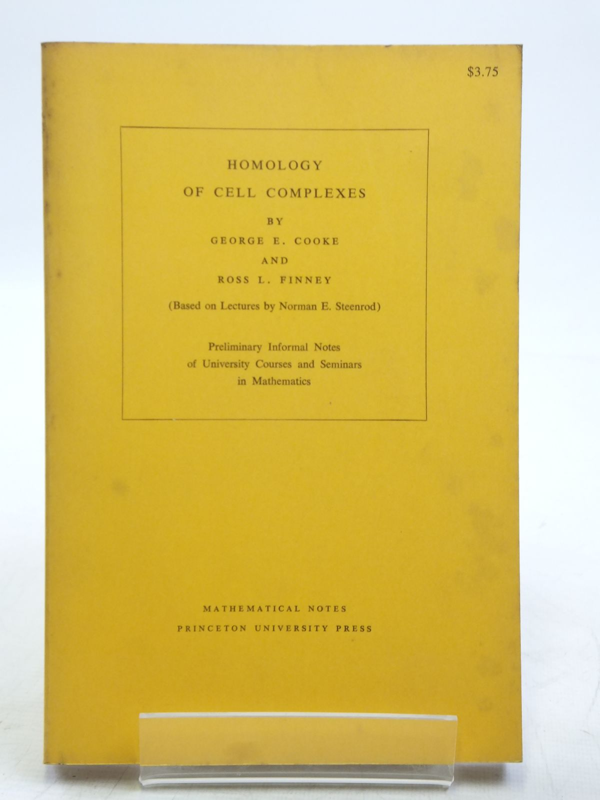 Photo of HOMOLOGY OF CELL COMPLEXES written by Cooke, George E.<br />Finney, Ross L. published by Princeton University Press, University Of Tokyo Press (STOCK CODE: 2119332)  for sale by Stella & Rose's Books