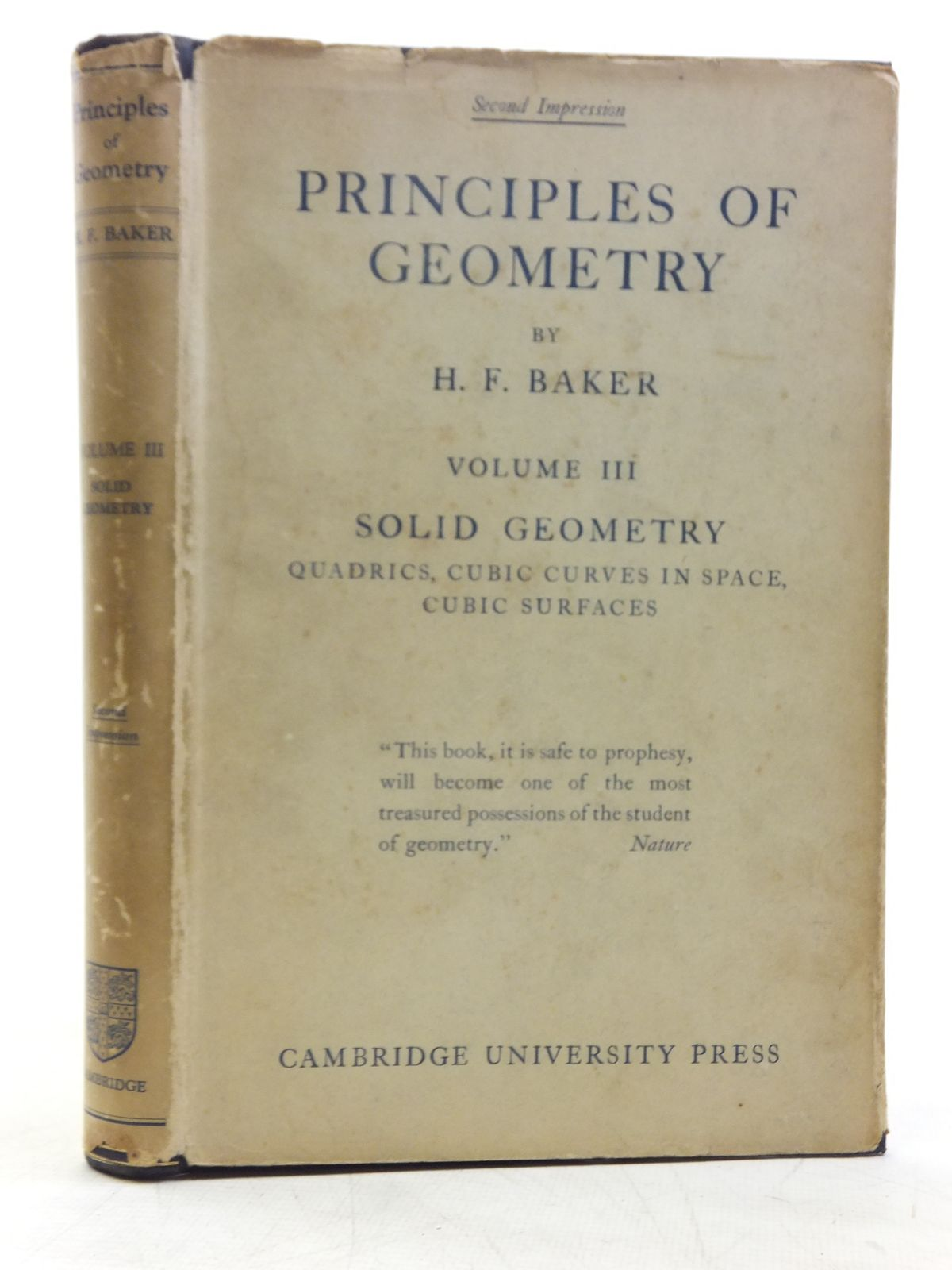 Photo of PRINCIPLES OF GEOMETRY VOLUME III SOLID GEOMETRY QUADRICS, CUBIC CURVES IN SPACE, CUBIC SURFACES written by Baker, H.F. published by Cambridge University Press (STOCK CODE: 2119500)  for sale by Stella & Rose's Books