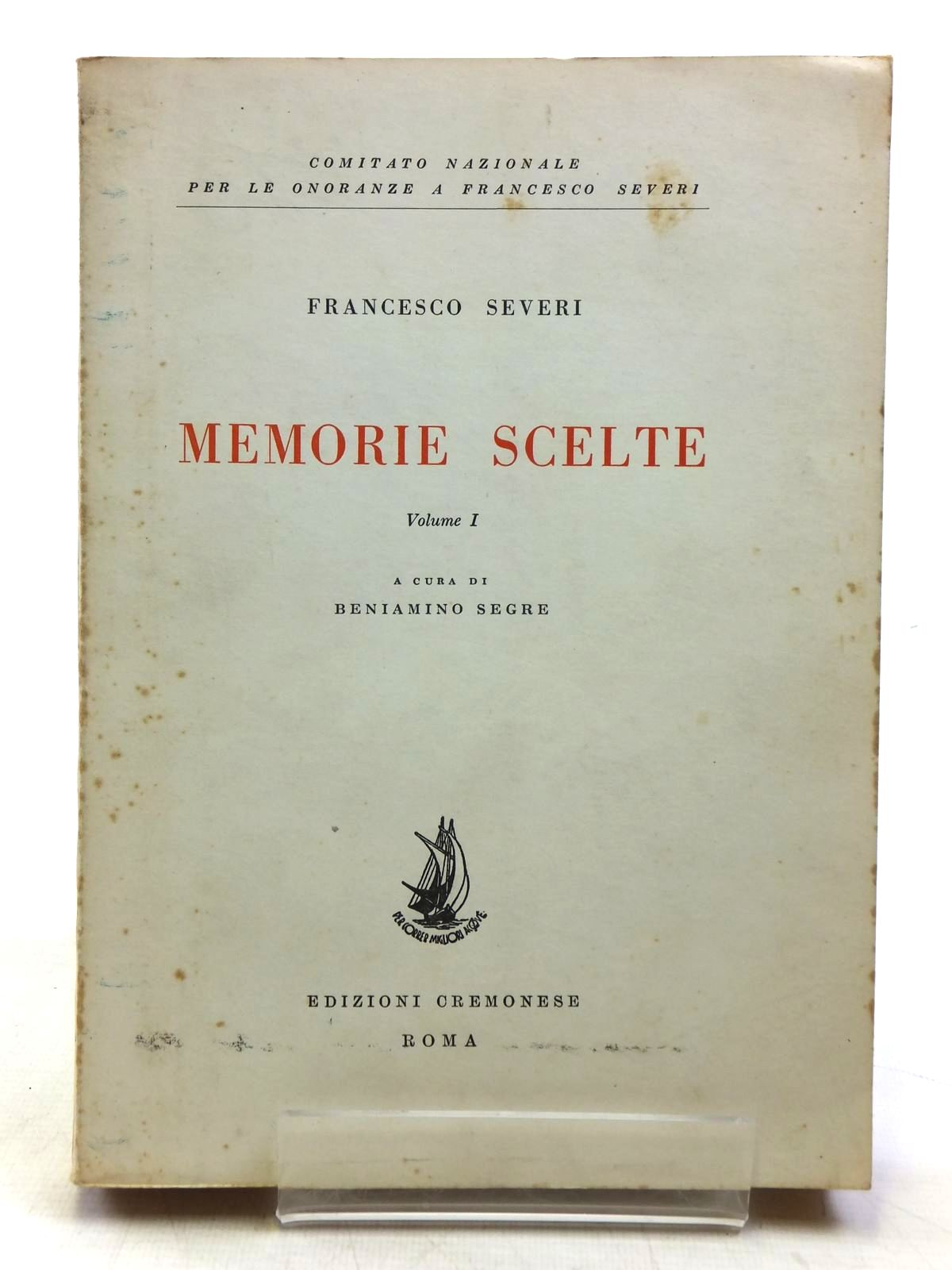 Photo of MEMORIE SCELTE VOLUME I written by Severi, Francesco published by Edizioni Cremonese (STOCK CODE: 2119913)  for sale by Stella & Rose's Books