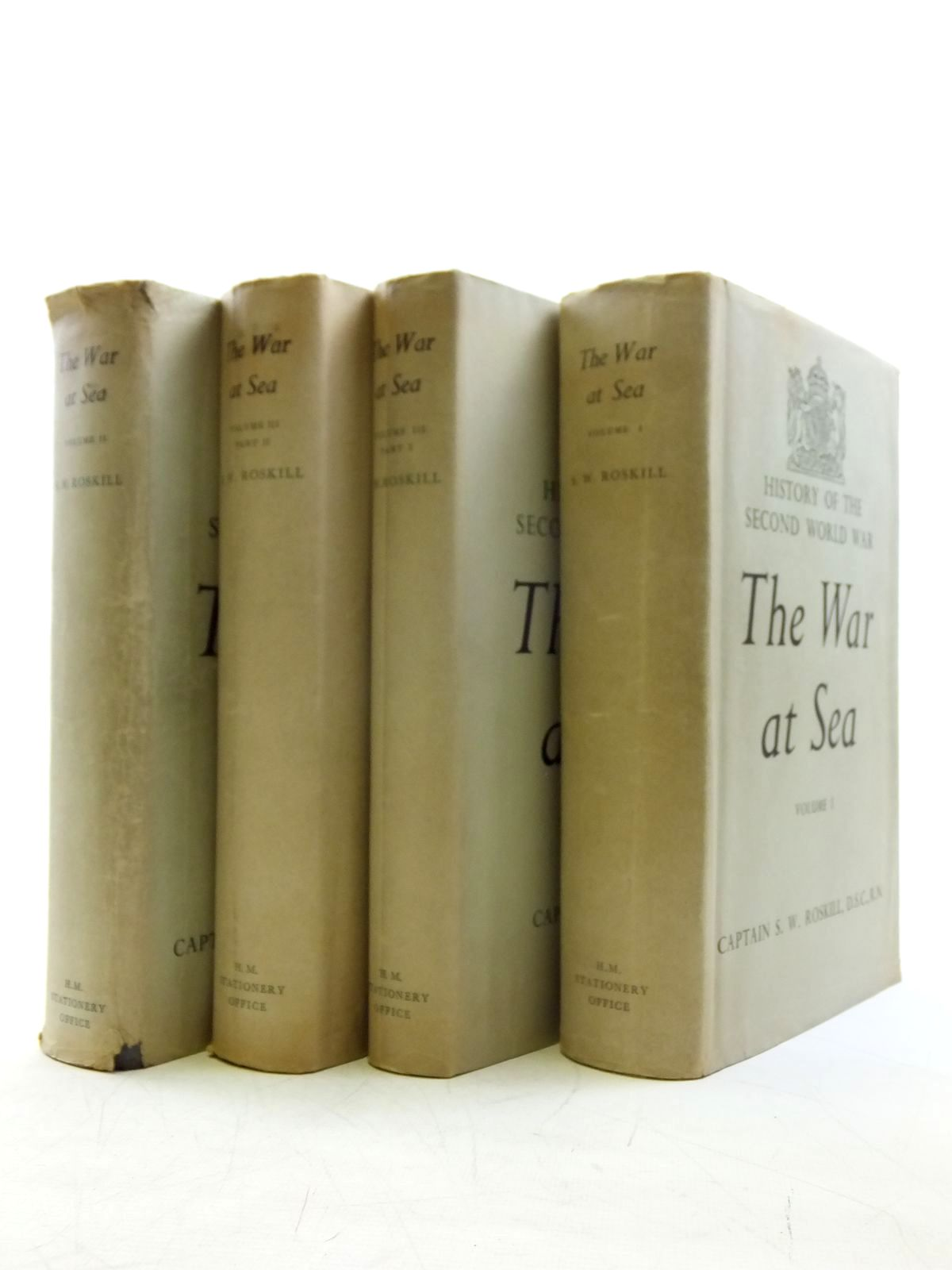 Photo of THE WAR AT SEA 1939-1945 FOUR VOLUMES written by Roskill, Stephen W. published by Her Majesty's Stationery Office (STOCK CODE: 2120442)  for sale by Stella & Rose's Books