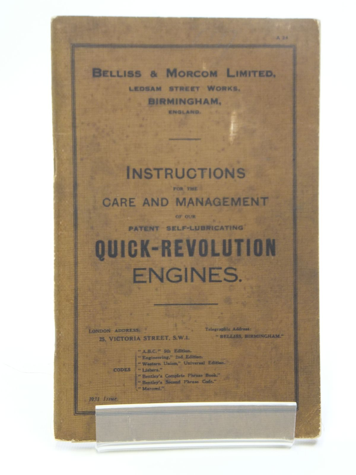 Photo of INSTRUCTIONS FOR THE CARE AND MANAGEMENT OF OUR PATENT SELF-LUBRICATING QUICK-REVOLUTION ENGINES published by Bellis & Morcom Limited (STOCK CODE: 2120981)  for sale by Stella & Rose's Books