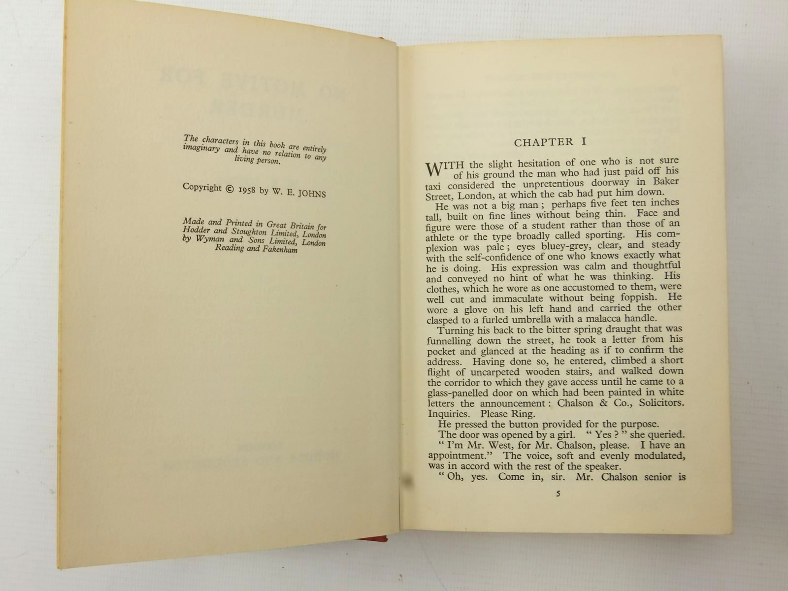 Photo of NO MOTIVE FOR MURDER written by Johns, W.E. published by Hodder & Stoughton (STOCK CODE: 2123165)  for sale by Stella & Rose's Books