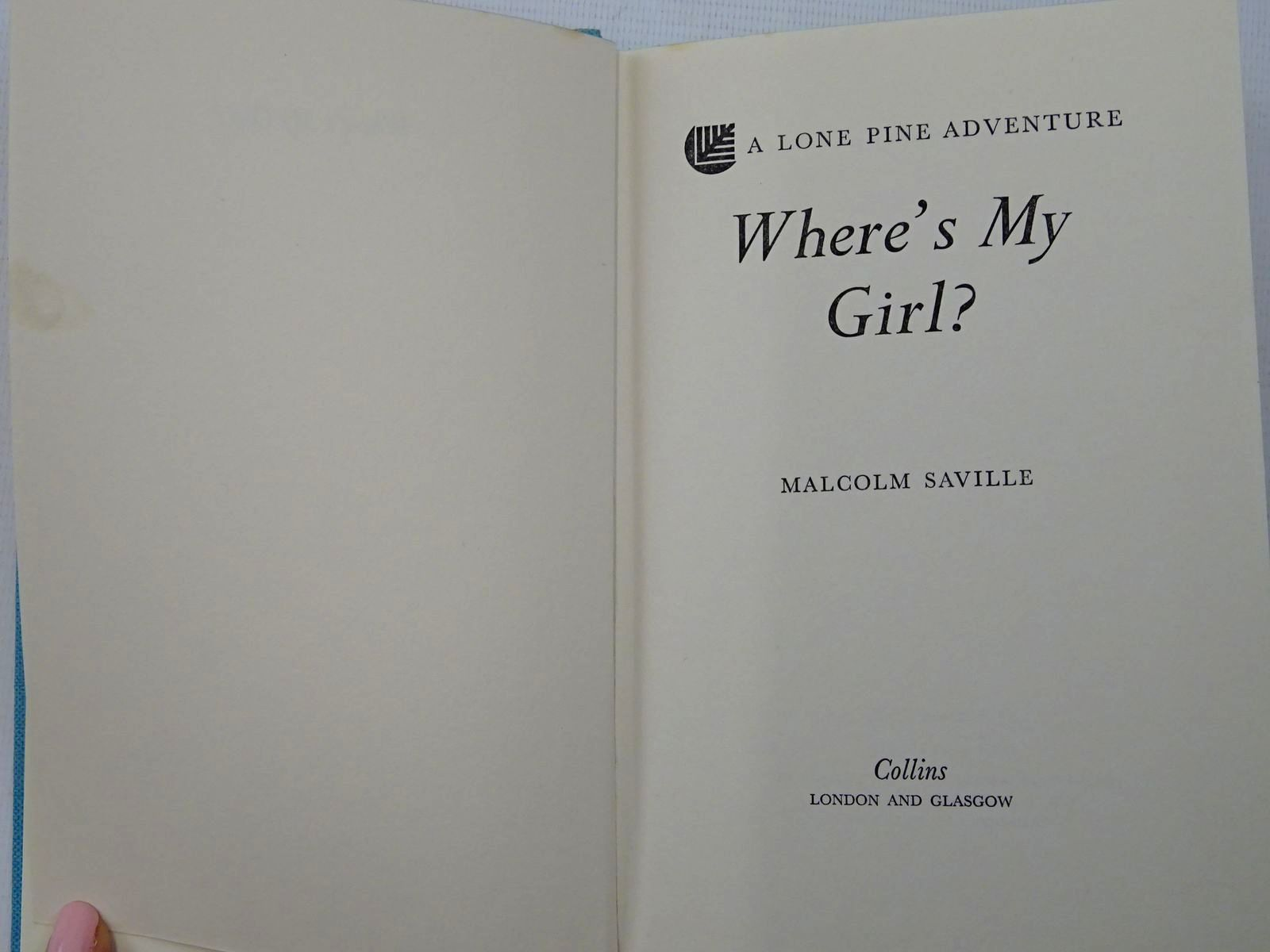 Photo of WHERE'S MY GIRL? written by Saville, Malcolm published by Collins (STOCK CODE: 2126241)  for sale by Stella & Rose's Books