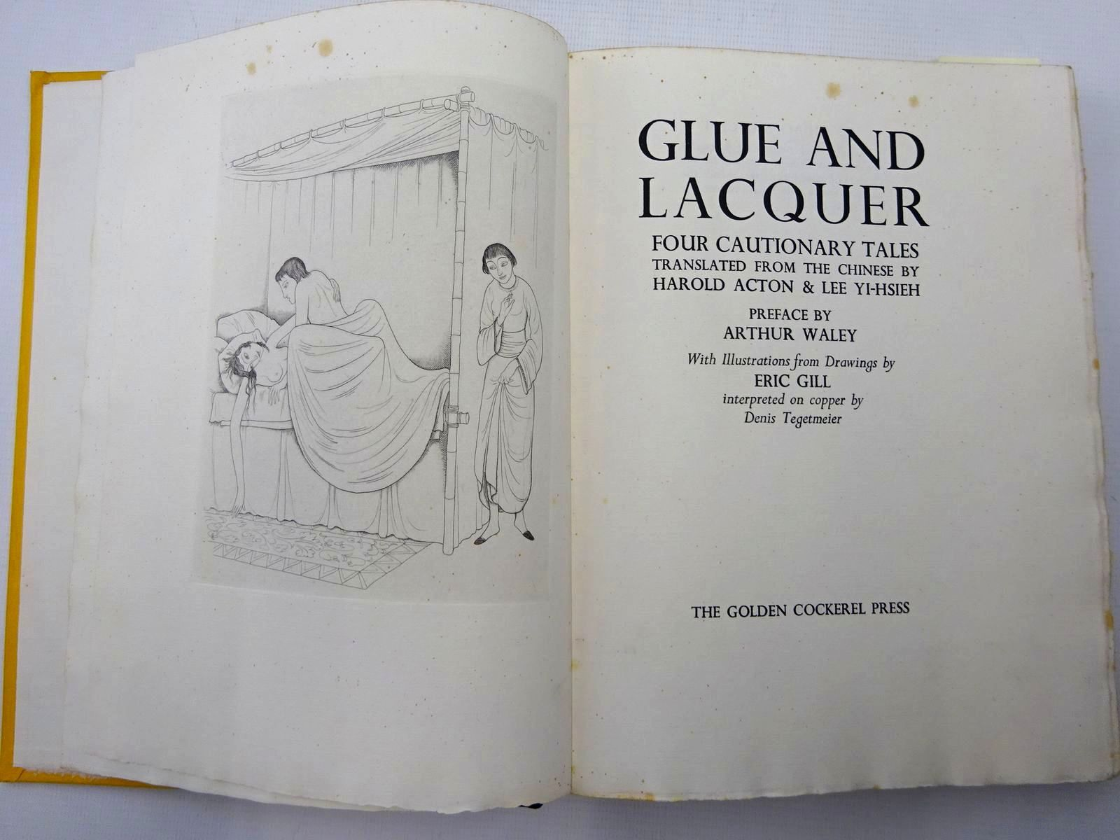 Photo of GLUE AND LACQUER FOUR CAUTIONARY TALES written by Acton, Harold<br />Yi-Hsieh, Lee<br />Waley, Arthur illustrated by Gill, Eric<br />Tegetmeier, Denis published by The Golden Cockerel Press (STOCK CODE: 2126393)  for sale by Stella & Rose's Books