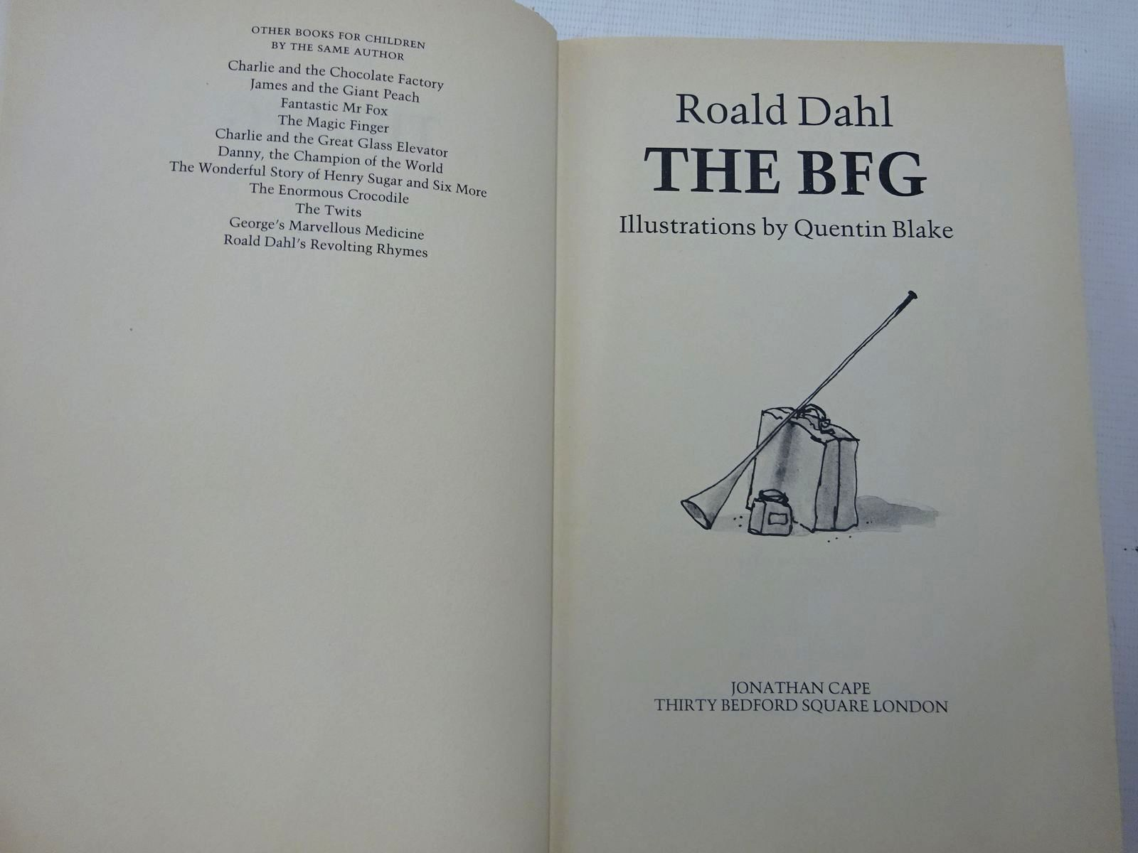 Photo of THE BFG written by Dahl, Roald illustrated by Blake, Quentin published by Jonathan Cape (STOCK CODE: 2126967)  for sale by Stella & Rose's Books