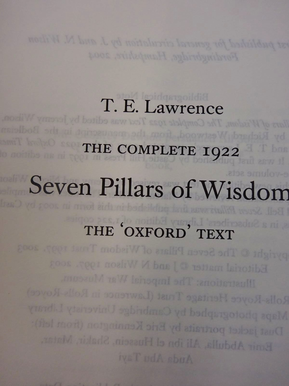 Photo of THE COMPLETE 1922 SEVEN PILLARS OF WISDOM THE 'OXFORD' TEXT written by Lawrence, T.E. published by J. And N. Wilson (STOCK CODE: 2126968)  for sale by Stella & Rose's Books