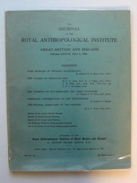 Photo of THE JOURNAL OF THE ROYAL ANTHROPOLOGICAL INSTITUTE VOLUME LXXVII PART I published by The Royal Anthroplogical Institute Of Great Britain And Ireland (STOCK CODE: 567404)  for sale by Stella & Rose's Books