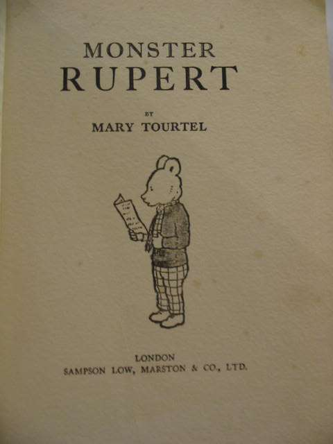 Photo of MONSTER RUPERT 1931 written by Tourtel, Mary illustrated by Tourtel, Mary published by Sampson Low, Marston & Co. (STOCK CODE: 575806)  for sale by Stella & Rose's Books