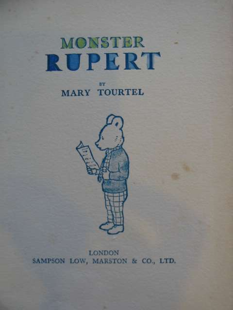 Photo of MONSTER RUPERT 1934 written by Tourtel, Mary illustrated by Tourtel, Mary published by Sampson Low, Marston & Co. Ltd. (STOCK CODE: 575808)  for sale by Stella & Rose's Books