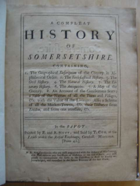 Photo of A COMPLEAT HISTORY OF SOMERSETSHIRE published by E. And R. Nutt (STOCK CODE: 576344)  for sale by Stella & Rose's Books