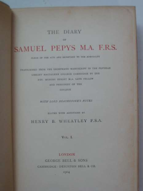 Photo of THE DIARY OF SAMUEL PEPYS written by Pepys, Samuel<br />Wheatley, Henry B. published by George Bell & Sons (STOCK CODE: 595909)  for sale by Stella & Rose's Books