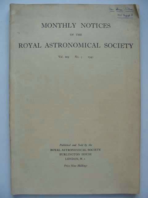 Photo of MONTHLY NOTICES OF THE ROYAL ASTRONOMICAL SOCIETY VOLUME 109 NO. 4 1949 published by Royal Astronomical Society (STOCK CODE: 629862)  for sale by Stella & Rose's Books
