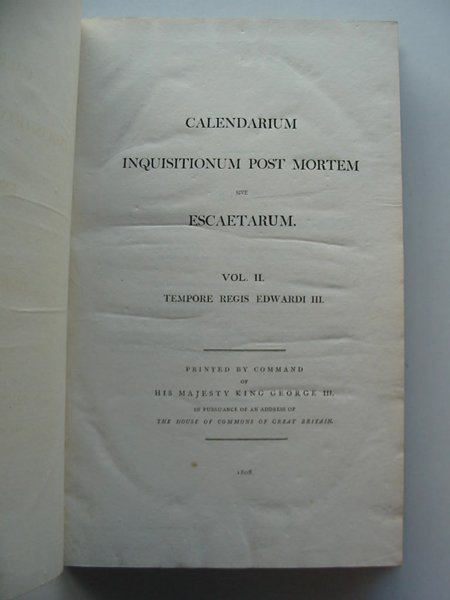 Photo of CALENDARIUM INQUISITIONUM POST MORTEM SIVE ESCAETARUM (STOCK CODE: 675076)  for sale by Stella & Rose's Books