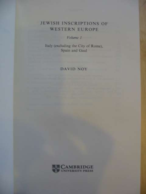 Photo of JEWISH INSCRIPTIONS OF WESTERN EUROPE VOLUME 1 written by Noy, David published by Cambridge University Press (STOCK CODE: 680163)  for sale by Stella & Rose's Books