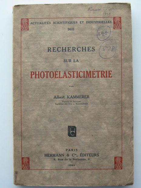 Photo of RECHERCHES SUR LA PHOTOELASTICIMETRIE written by Kammerer, Albert published by Hermann & Cie. (STOCK CODE: 806118)  for sale by Stella & Rose's Books