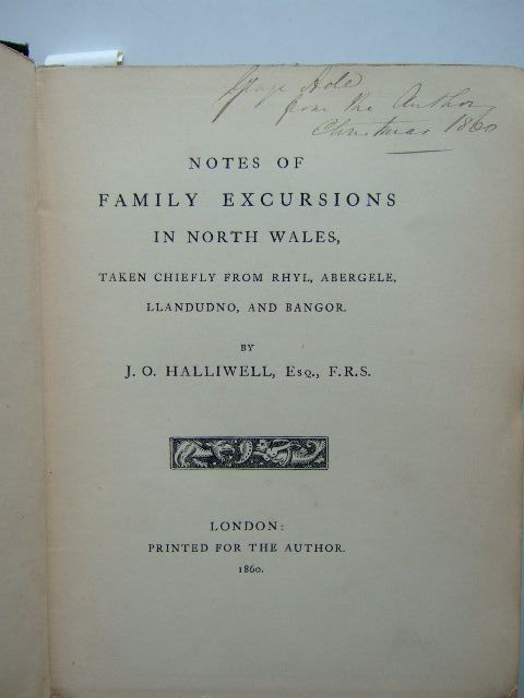 Photo of NOTES OF FAMILY EXCURSIONS IN NORTH WALES written by Halliwell, J.O. (STOCK CODE: 1204283)  for sale by Stella & Rose's Books
