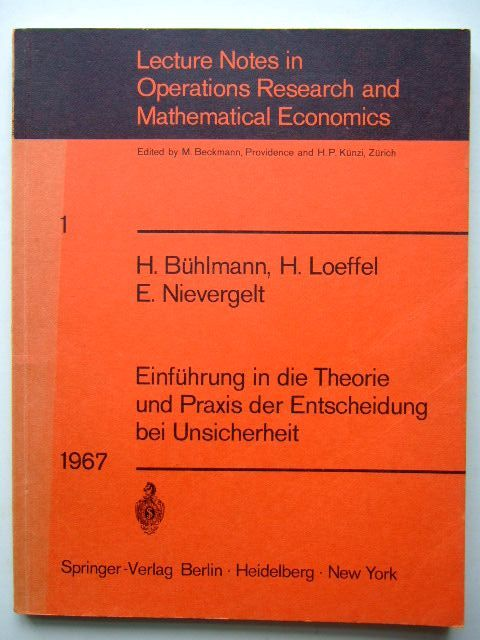 Photo of LECTURE NOTES IN OPERATIONS RESEARCH AND MATHEMATICAL ECONOMICS written by Buhlmann, H.<br />Loeffel, H.<br />Nievergelt, E. published by Springer-Verlag (STOCK CODE: 1204440)  for sale by Stella & Rose's Books