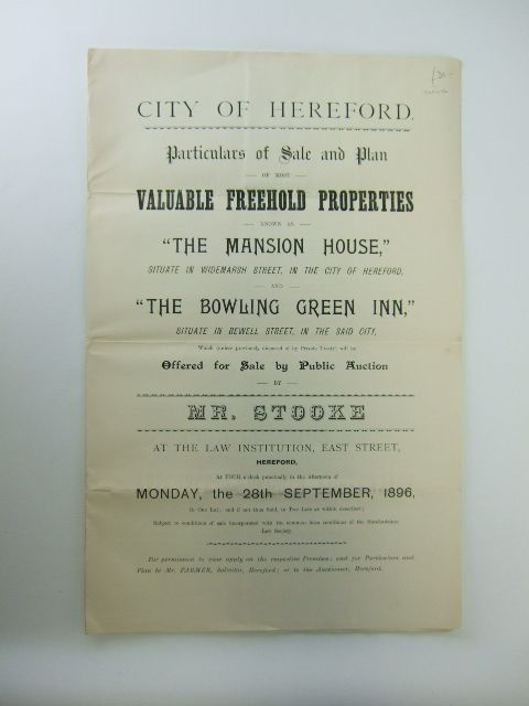 Photo of PARTICULARS OF SALE AND PLAN OF MOST VALUABLE FREEHOLD PROPERTIES KNOWN AS THE MANSION HOUSE published by Mr. Edwin Stooke (STOCK CODE: 1205906)  for sale by Stella & Rose's Books