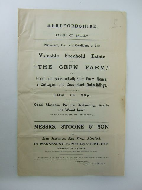 Photo of PARTICULARS, PLAN AND CONDITIONS OF SALE OF THE VALUABLE FREEHOLD ESTATE KNOWN AS THE CEFN FARM- Stock Number: 1205910