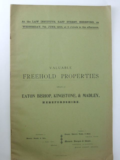 Photo of VALUABLE FREEHOLD PROPERTIES SITUATE AT EATON BISHOP, KINGSTONE & MADLEY, HEREFORDSHIRE- Stock Number: 1205921