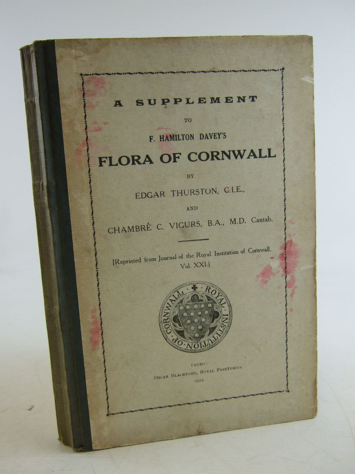 Photo of A SUPPLEMENT TO F. HAMILTON DAVEY'S FLORA OF CORNWALL written by Thurston, Edgar Vigurs, Chambre C. published by Oscar Blackford (STOCK CODE: 1206412)  for sale by Stella & Rose's Books