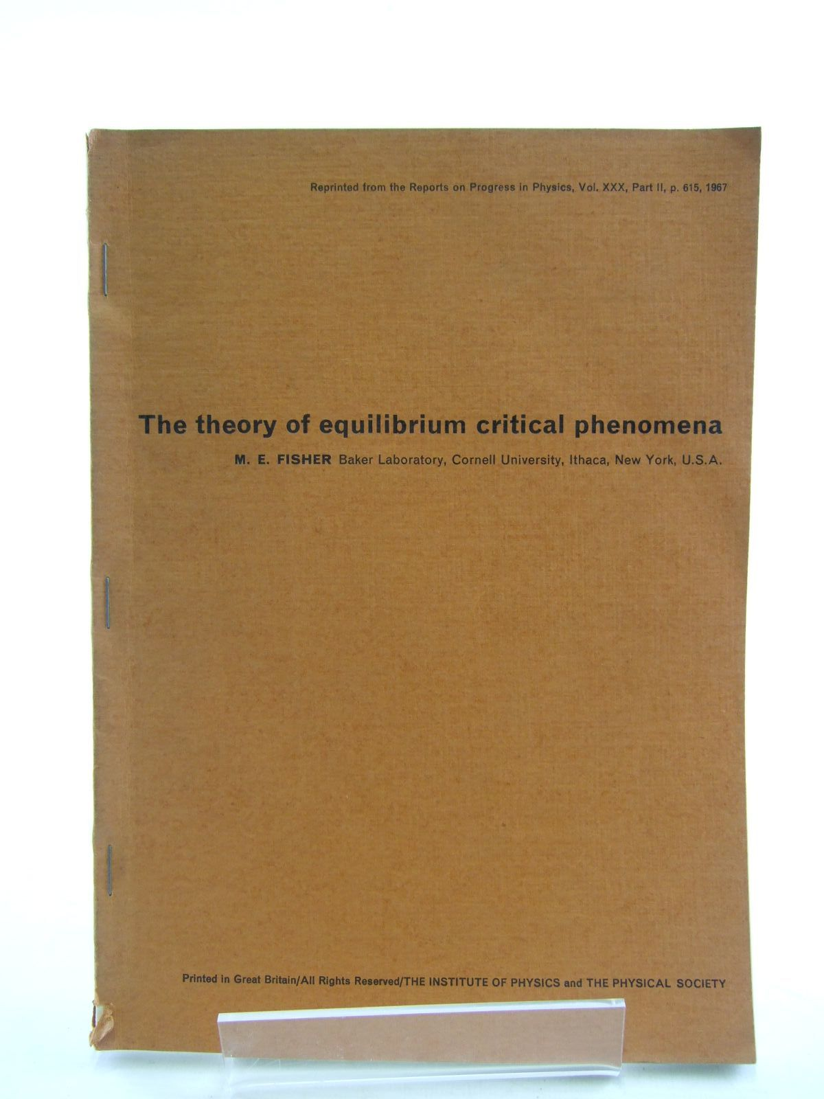 Photo of THE THEORY OF EQUILIBRIUM CRITICAL PHENOMENA- Stock Number: 1206451