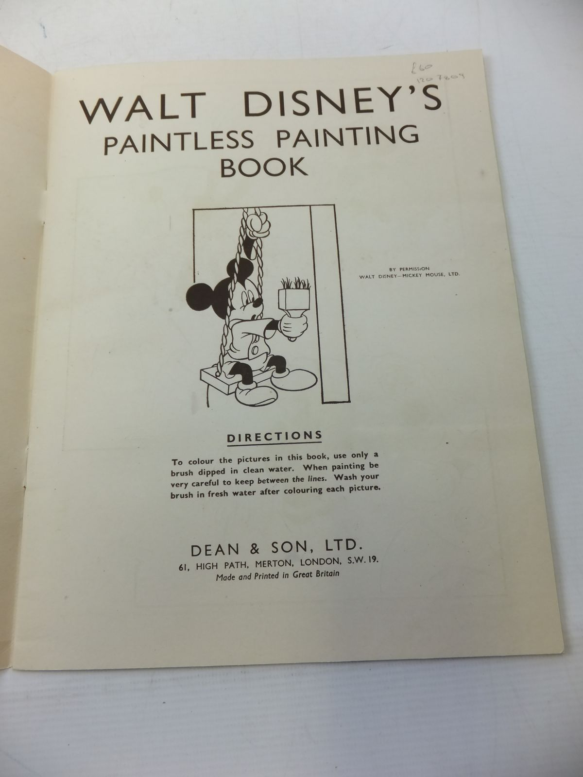 Photo of WALT DISNEY PAINTLESS PAINTING BOOK written by Disney, Walt illustrated by Disney, Walt published by Dean & Son Ltd. (STOCK CODE: 1207809)  for sale by Stella & Rose's Books