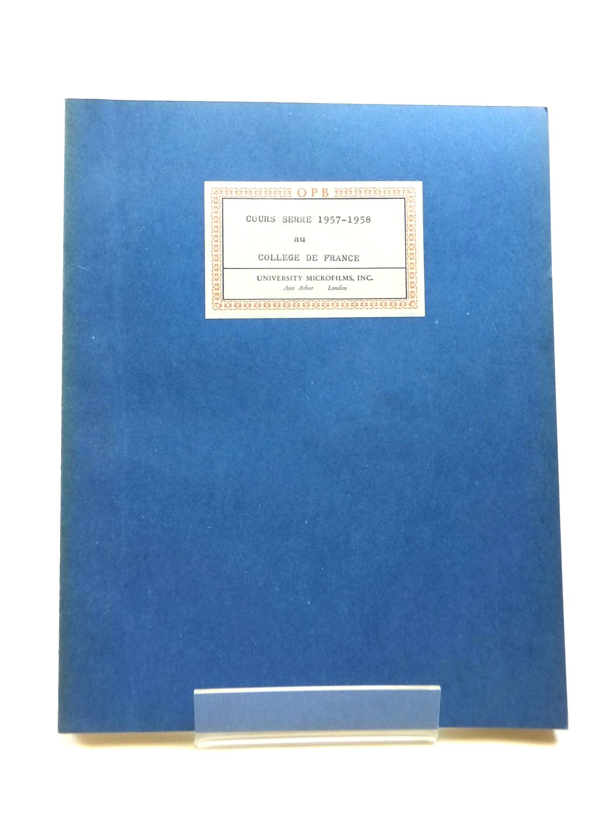 Photo of COURS SERRE 1957-58 AU COLLEGE DE FRANCE- Stock Number: 1208396
