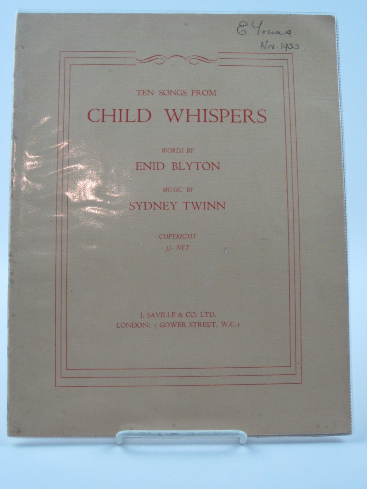 Photo of TEN SONGS FROM CHILD WHISPERS written by Blyton, Enid<br />Twinn, Sydney published by J. Saville &amp; Co. Ltd. (STOCK CODE: 1309487)  for sale by Stella & Rose's Books