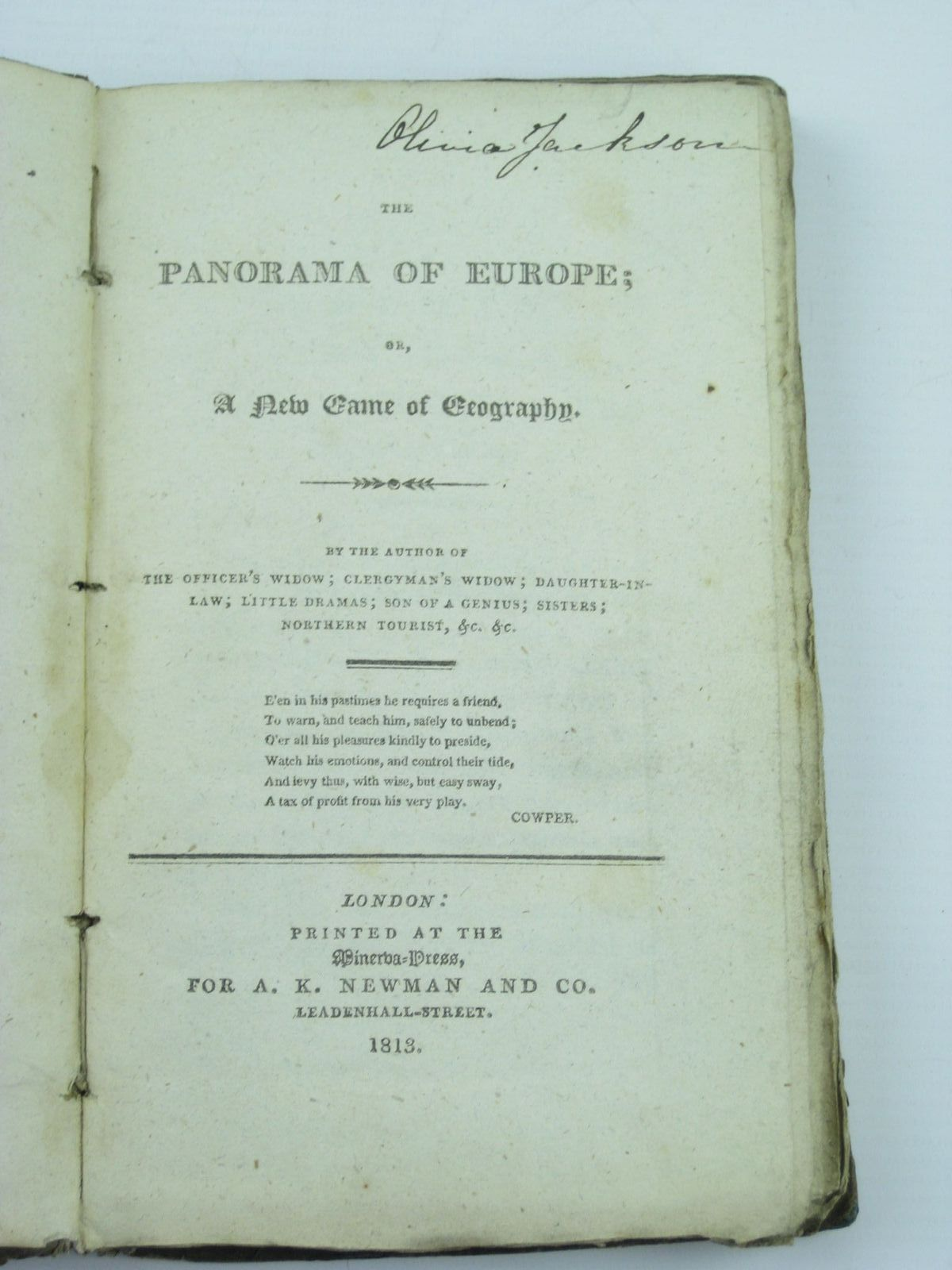 Photo of THE PANORAMA OF EUROPE; OR, A NEW GAME OF GEOGRAPHY written by Hofland, Barbara published by A.K. Newman and Co. (STOCK CODE: 1310973)  for sale by Stella & Rose's Books