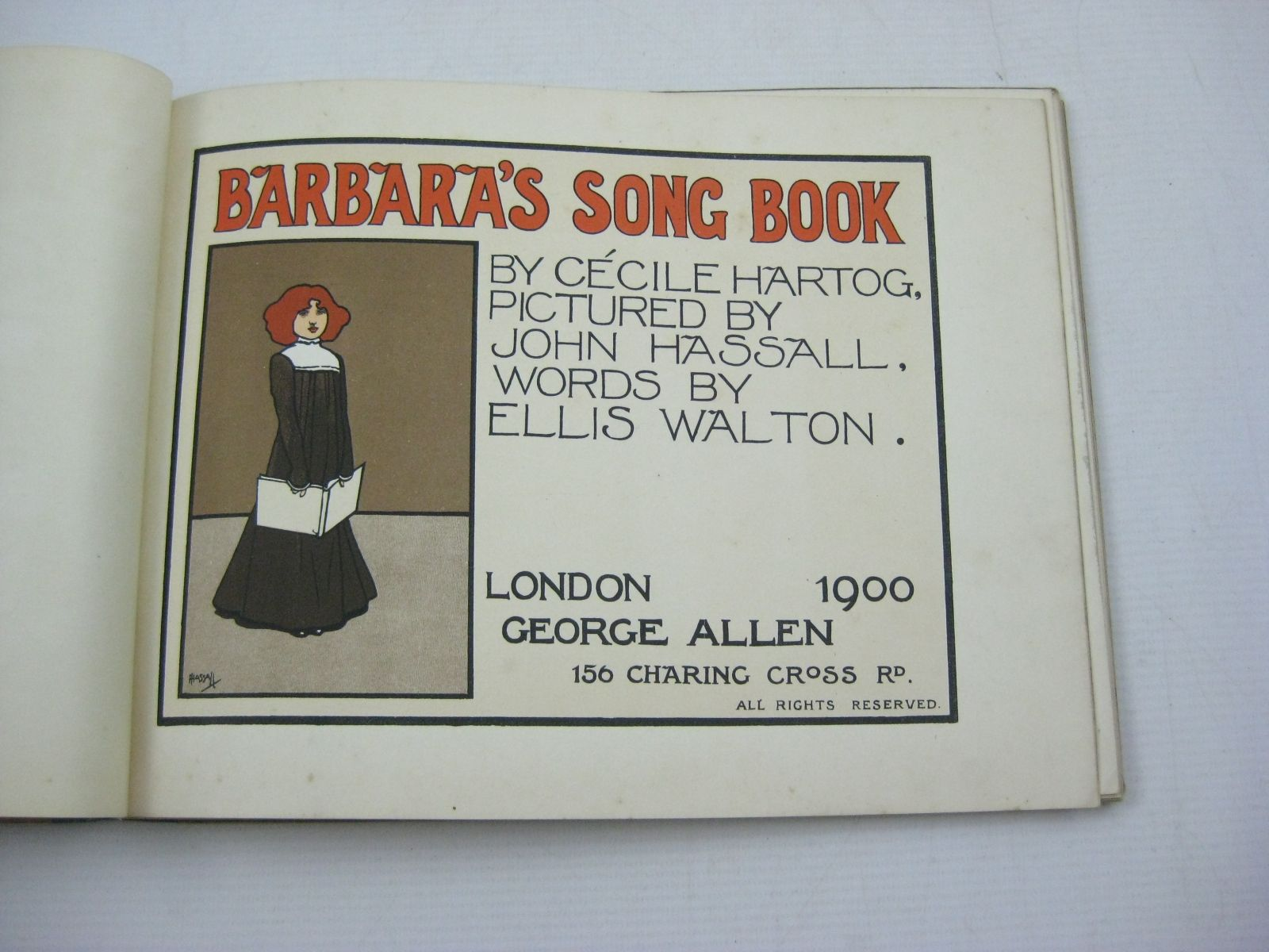 Photo of BARBARA'S SONG BOOK written by Hartog, Cecile Walton, Ellis illustrated by Hassall, John published by George Allen (STOCK CODE: 1314988)  for sale by Stella & Rose's Books