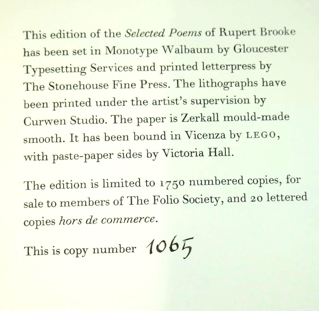 Photo of SELECTED POEMS written by Brooke, Rupert illustrated by Kluz, Ed published by Folio Society (STOCK CODE: 1320765)  for sale by Stella & Rose's Books
